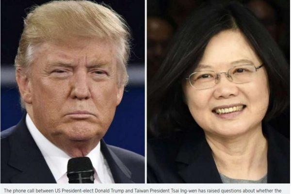 Vendredi 2 décembre, dans un mouvement historique, le président-élu des Etats-Unis Donald Trump a accepté un coup de fil de la présidente taïwanaise Tsai Ing-wen. Copie d'écran du Straits Times, le 5 décembre 2016.