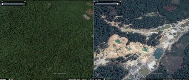 Dégradation environnementale liée à l'extraction de sable contenant de l'étain en Indonésie. (Crédit : Google Earth)