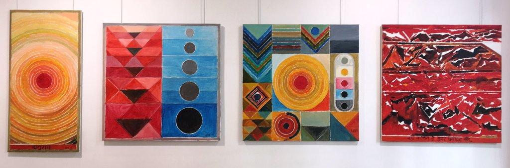 SH Raza, vue de l'exposition à la galerie Baudoin Lebon à Paris. (Copyright : Galerie Baudoin Lebon)