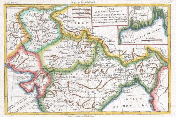 Carte du royaume d'Assam dans le nord-est de l'Inde, datant de 1780. (Source : Wikimedia)