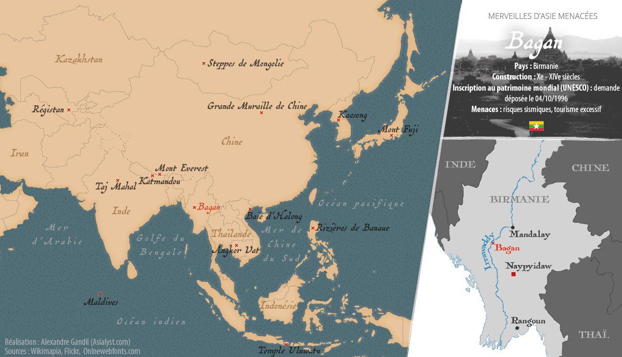 Carte des merveilles menacées d'Asie retenues par Asialyst et localisation de Bagan, en Birmanie.