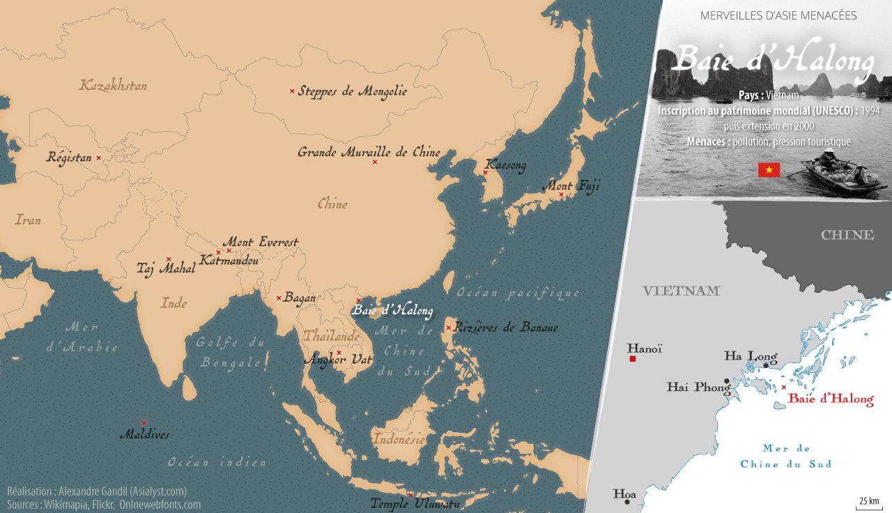 Carte des merveilles menacées d'Asie retenues par Asialyst et localisation de la Baie d'Halong, au Vietnam.