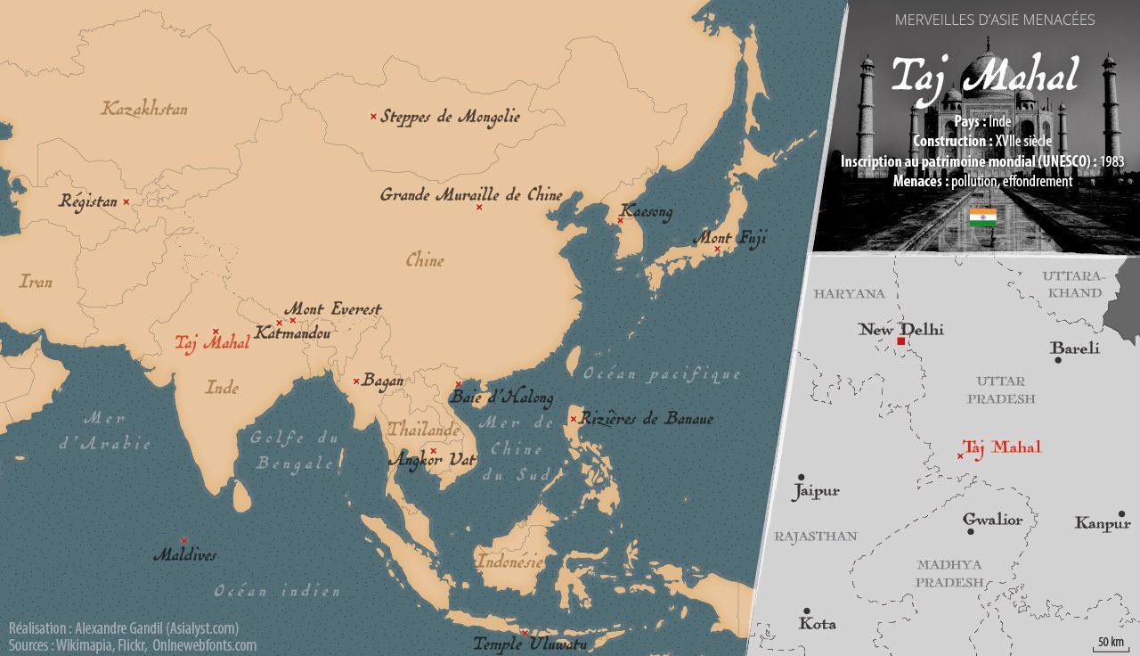 Carte des merveilles menacées d'Asie retenues par Asialyst et localisation du Taj Mahal, en Inde.