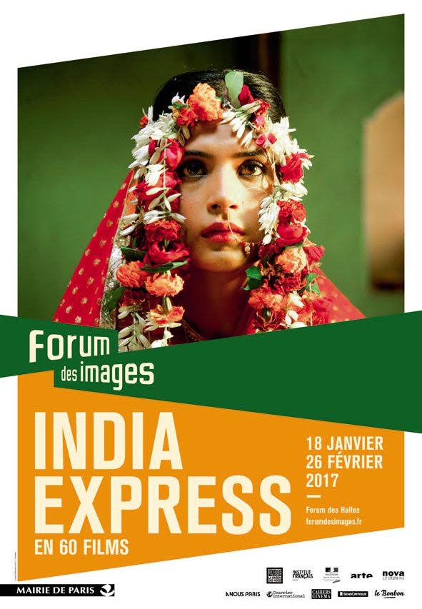 Affiche du festival India Express qui présentera le cinéma indien en 60 films du 18 janvier au 26 février au Forum des Images à Paris. (Crédits : Forum des Images)