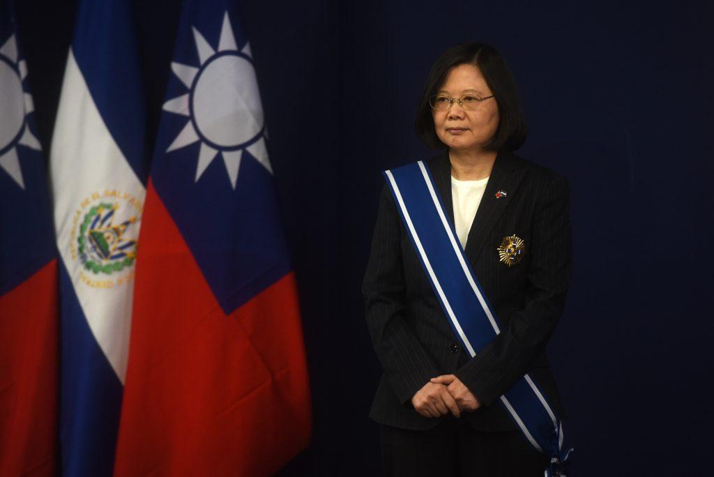 La présidente taïwanaise Tsai Ing-wen lors d'une conférence de presse à San Salvador le 13 janvier 2017.