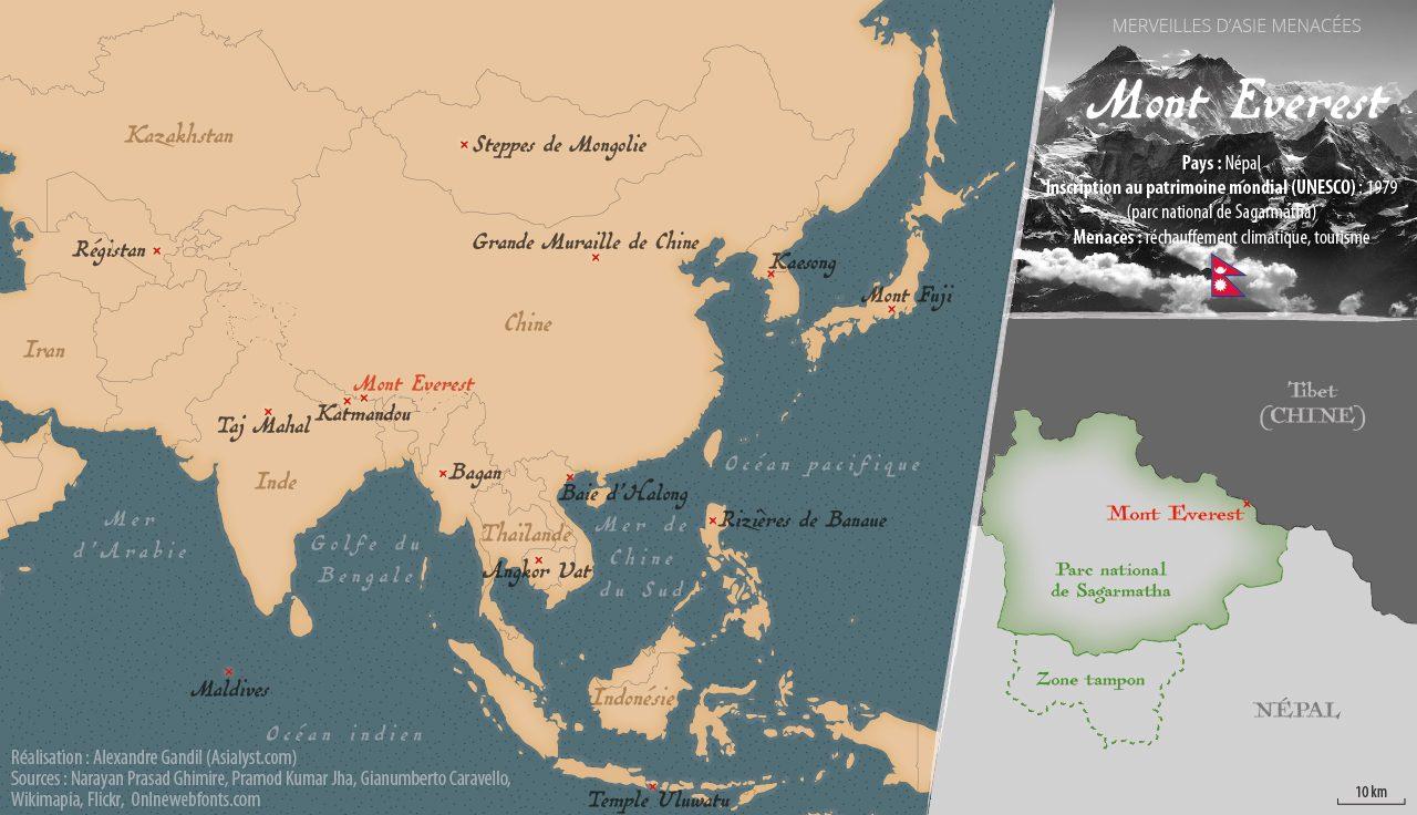 Carte des merveilles menacées d'Asie retenues par Asialyst et localisation du Mont Everest, au Népal.
