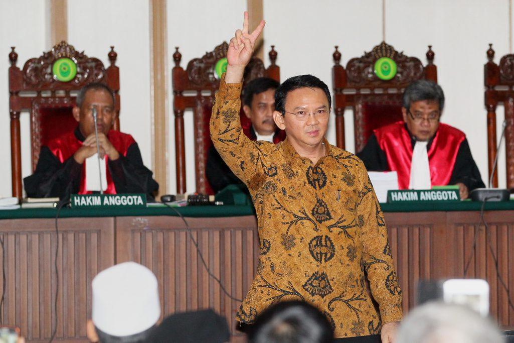 """Le gouverneur de Jakarta Basuki Tjahaja Purnama, dit Ahok, lors de son audience pour """"insulte à une religion"""", à Jakarta le 3 janvier 2017. (Crédits : AFP PHOTO / POOL / Irwan RISMAWAN)"""