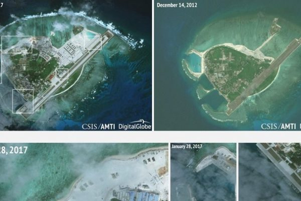 De nouvelles images satellites révélées par l'Asia Maritime Transparency Initiative (AMTI) du think tank américain Center for Strategic and International Studies (CSIS), montrent la poldérisation et la militarisation de l'ïle Woddy contrôlée par la Chine dans l'archipel des Parcels en mer de Chine du Sud entre le 14 décembre 2014 et le 28 janvier 2017. (Copie d'écran dusite de l'AMTI)