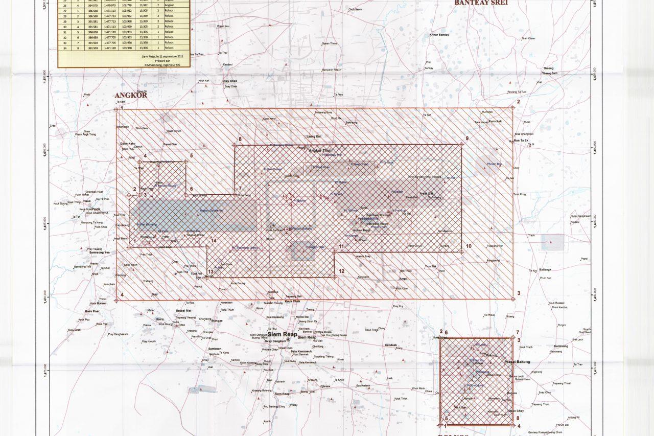 Plan de zonage et de gestion de l'environnement pour la région d'Angkor. (Source : UNESCO. APSARA, 2011)