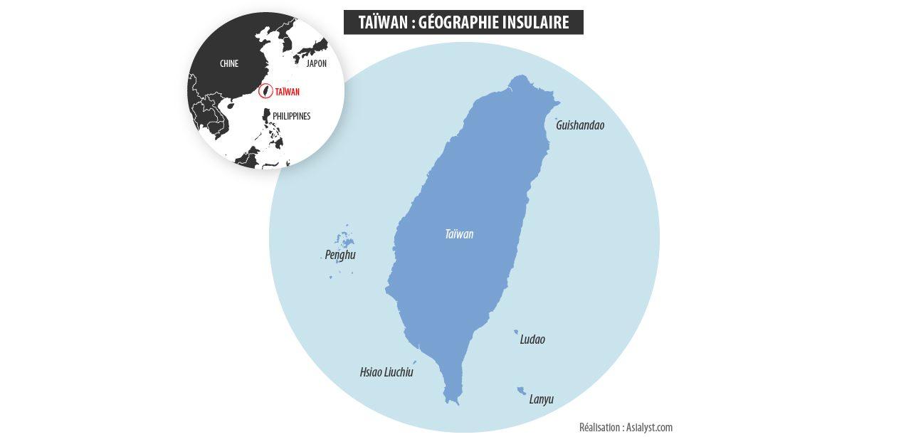 Carte de l'île de Taïwan et des îles et archipels dans son environnement immédiat