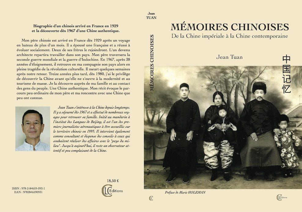"""Couverture des """"Mémoires chinoises, de la Chine impériale à la Chine contemporaine"""" par Jean Tuan (CLC éditions). (Copyright : CLC)"""
