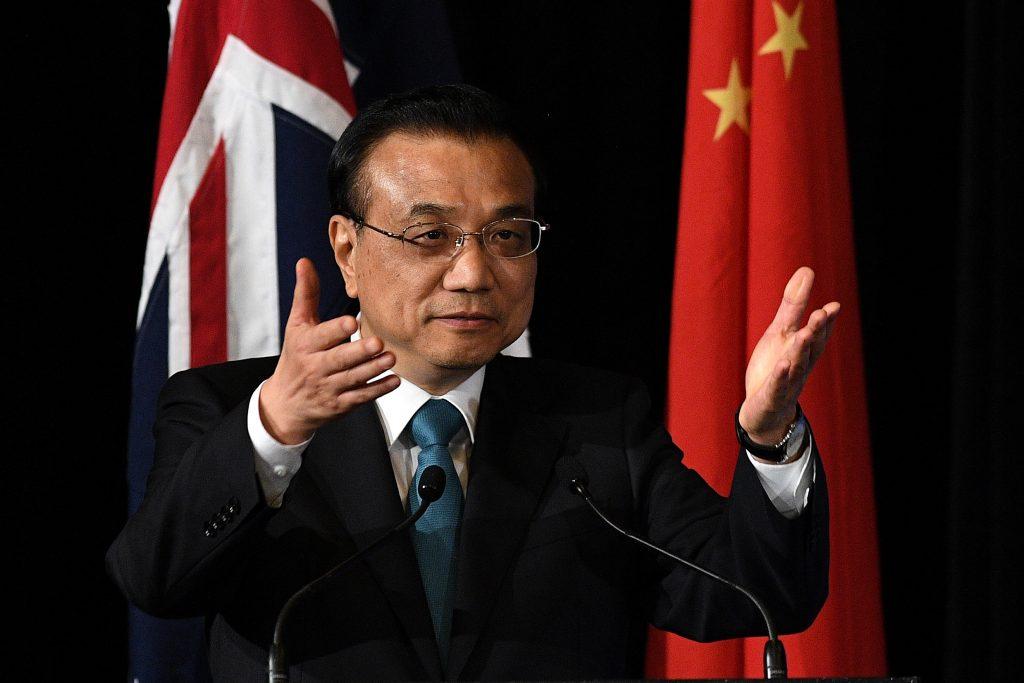 Le Premier ministre chinois Li Keqiang lors du 2nd Forum Chine-Australie des dirigeants provinciaux à Sydney le 24 mars 2017. (Crédits : AFP PHOTO / POOL / DAN HIMBRECHTS)