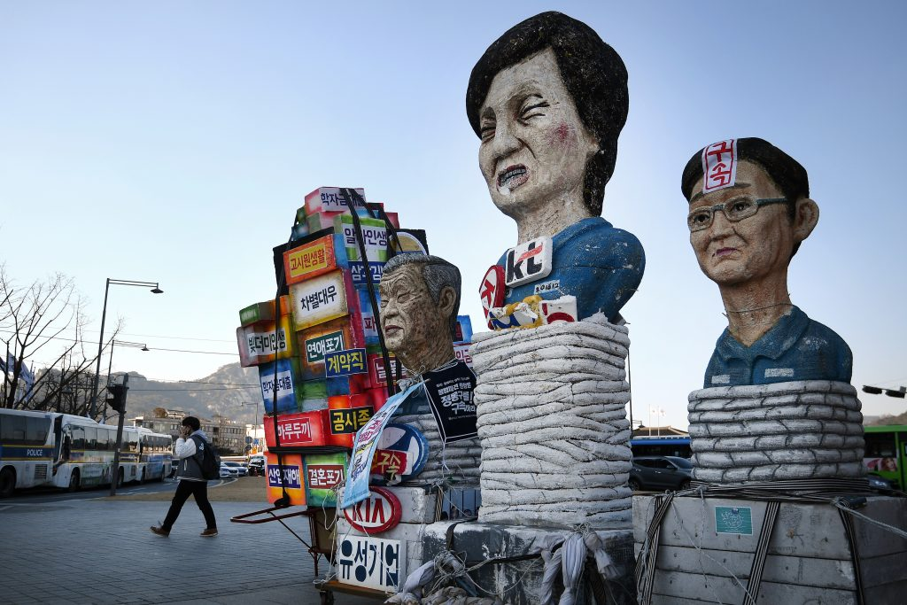 L'effigie de la présidente sud-coréenne Park Geun-hye lors d'une nouvelle manifestation appelant à sa démission à Séoul le 25 février 2017. (Crédits : Ramil Sitdikov/Sputnik)