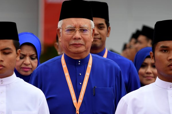 Le Premier ministre malaisien Najib Razak lors du congrès annuel de son parti, l'UMNO (United Malays National Organisation) à Kuala Lumpur le 1er décembre 2016. (Crédits : AFP PHOTO / MANAN VATSYAYANA)