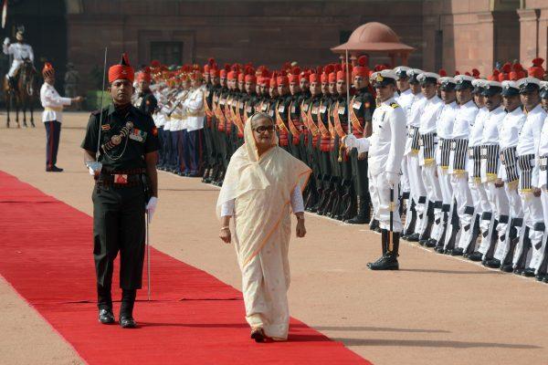 La Premier ministre du Bangladesh, Sheikh Hasina, fille de Sheikh Mujibur Rahman, père de l'émancipation lors d'une visite d'état en Inde, le 8 avril 2017