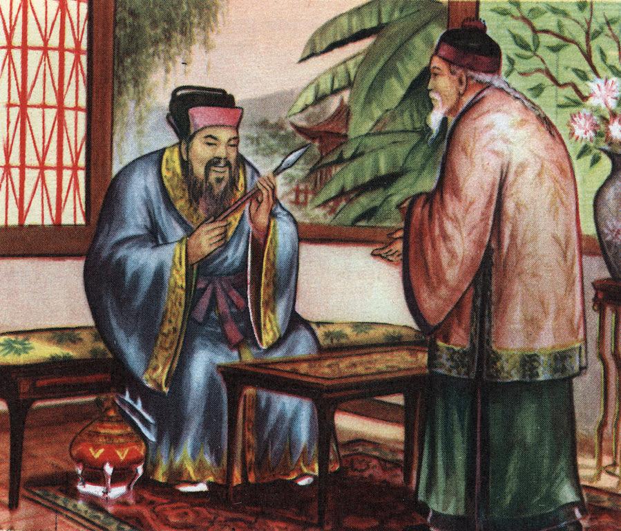 Le philosophe chinois Confucius (551-479 avant JC), consulte pour ses connaissances des civilisations disparues. (Crédits : Private collection / ©Isadora/Leemage / via AFP)
