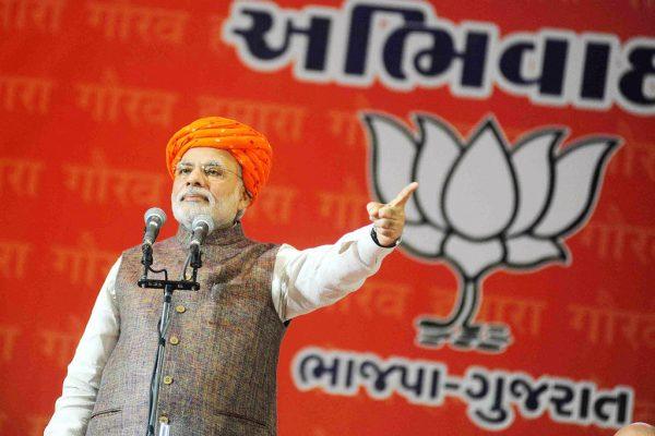 Le Premier ministre Narendra Modi lors d'un meeting du BJP à Tri mandir dans le Gujarat Gujarat le 16 septembre 2014. (Crédits : The Times of India/Yogesh Chawda/via AFP)