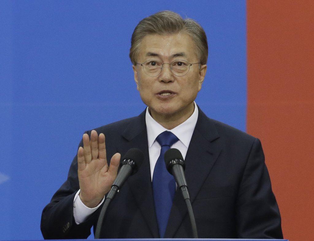 Le nouveau président sud-coréen Moon Jae-in lors de son investiture à l'Assemblée nationale à Séoul le 10 mai 2017. (Crédits : AFP PHOTO / POOL / Ahn Young-joon)