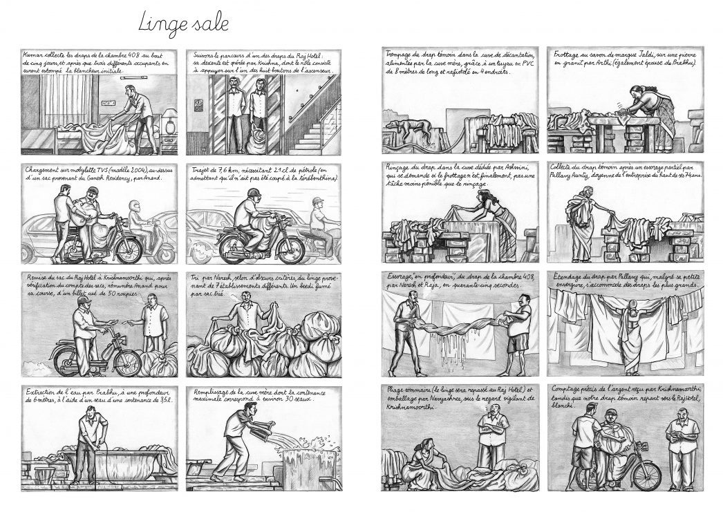 """Extrait de la bande dessinée """"Bangalore"""", scénario et dessin Simon Lamouret, 112 pages, Warum."""