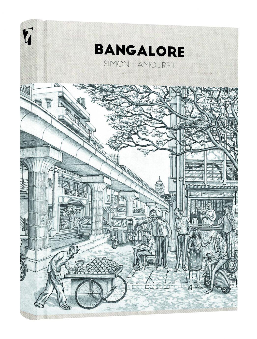 """Couverture de la bande dessinée """"Bangalore"""", scénario et dessin Simon Lamouret, 112 pages, Warum."""