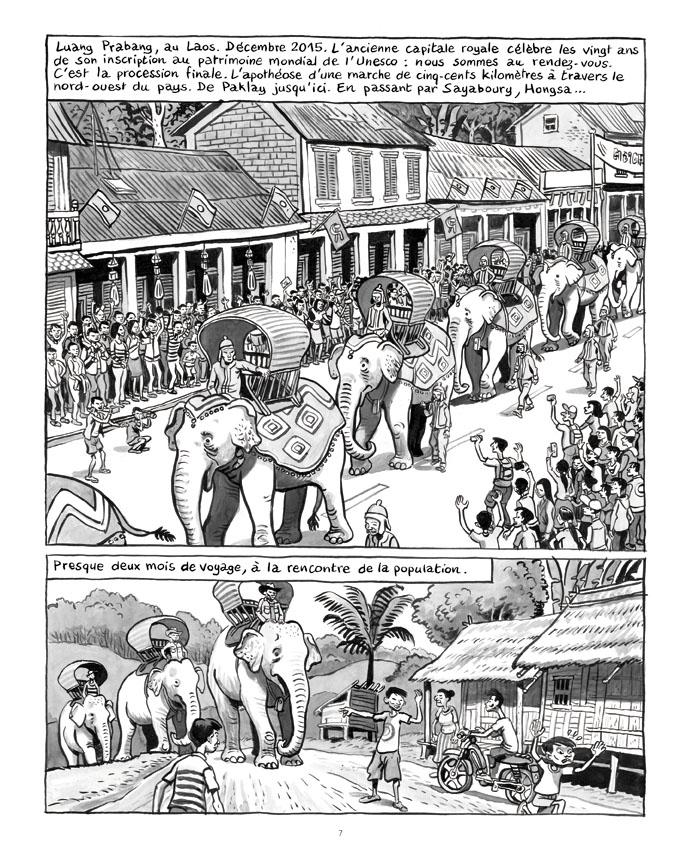 """Extrait de """"La longue marche des éléphants"""", planche de Nicolas Dumontheuil, Futuropolis."""