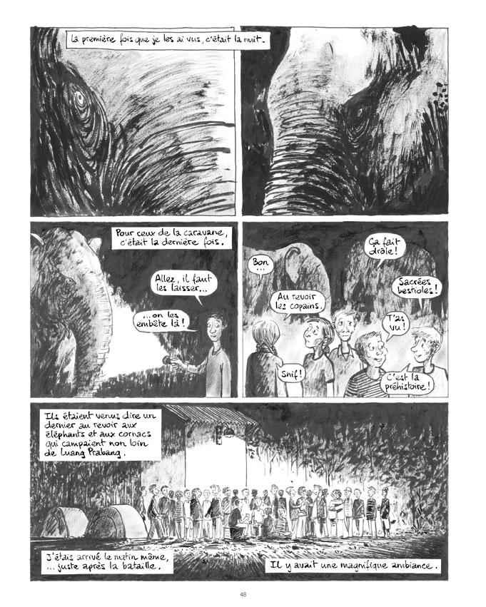 """Extrait de """"La longue marche des éléphants"""", planche de Troubs, Futuropolis."""