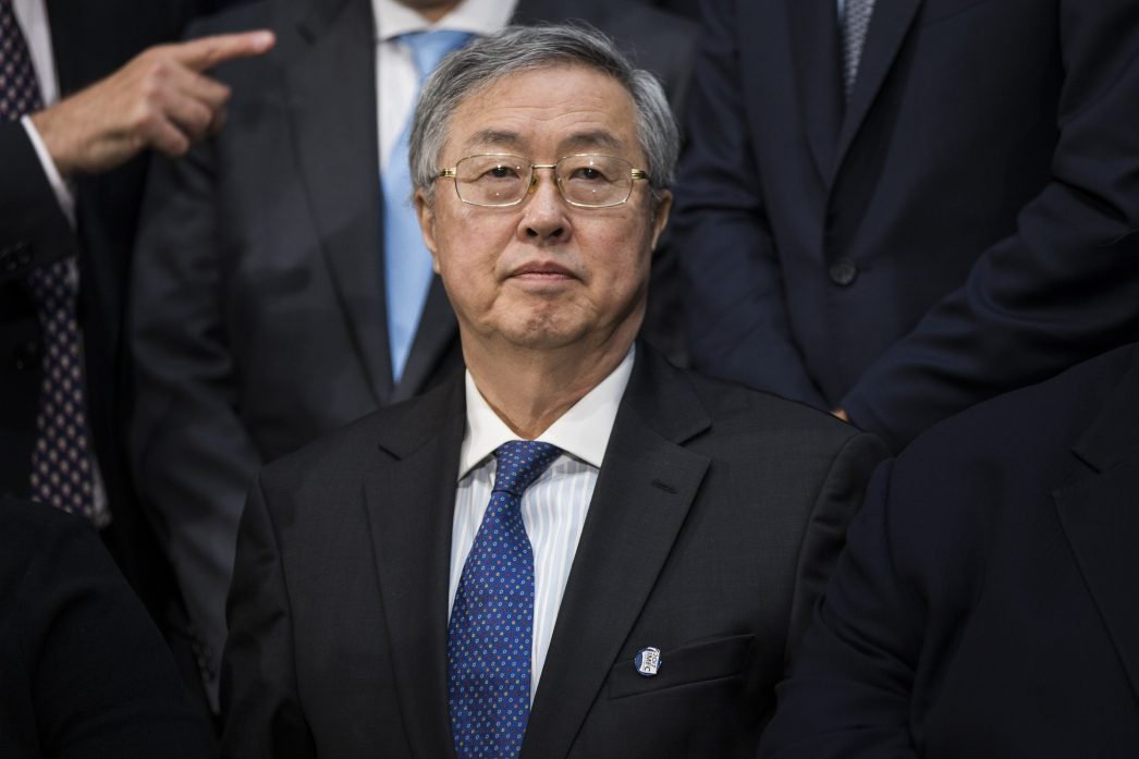 Zhou Xiaochuan, le gouverneur de la Banque Centrale lors d'une réunion du Fonds Monétaire International (FMI) à Washington le 22 avril 2017.