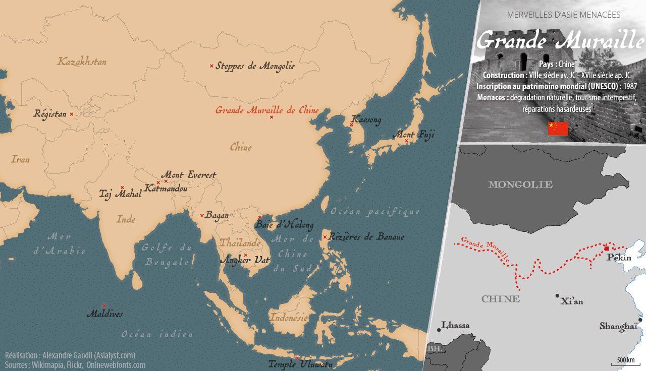 Carte des merveilles menacées d'Asie retenues par Asialyst et localisation la Grande Muraille, en Chine.