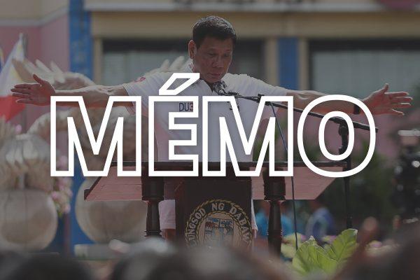 Rodrigo Duterte livre un discours devant la mairie de Davao le 27 juin 2016, trois jours avant son élection à la magistrature suprême philippine. (Crédit : MANMAN DEJETO / AFP)