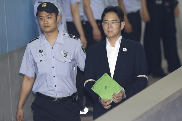 Lee Jae-yong, le vice-président de Samsung Electronics arrive à son procès au Tribunal du District Central de Séoul le 7 août 2017. (Crédits : AFP PHOTO / POOL / Ahn Young-joon)
