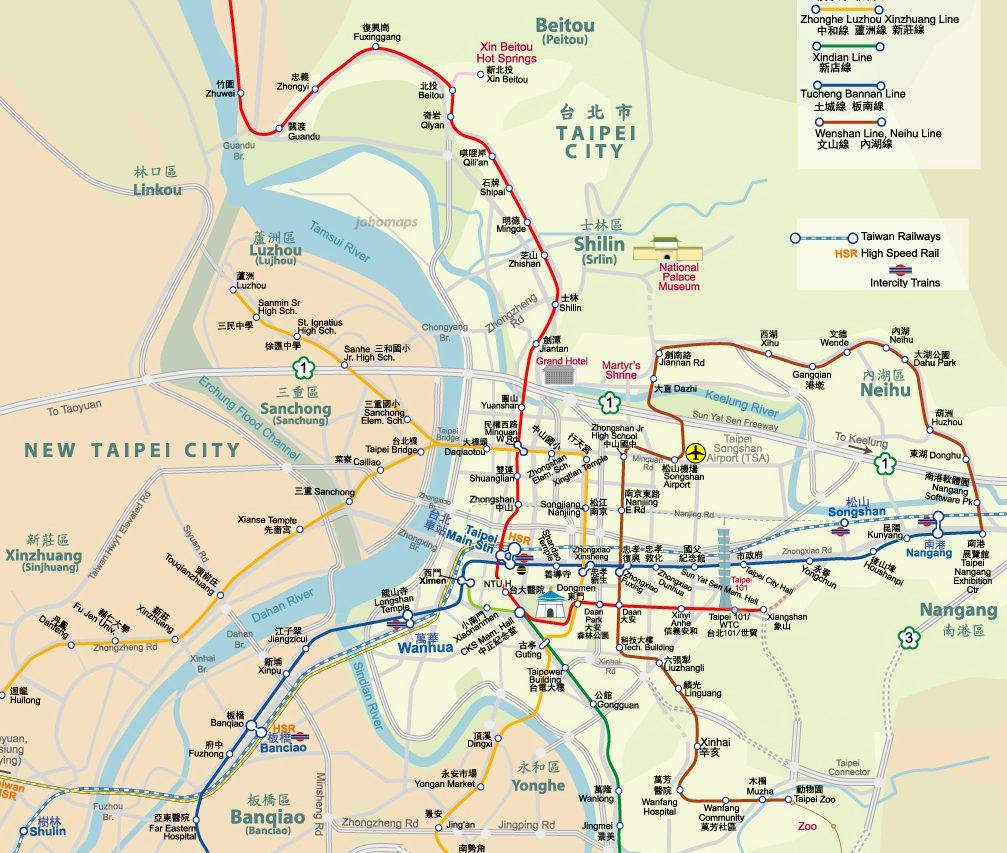 Carte de la ville de Taipei. (Source : Johomaps. 2016.)