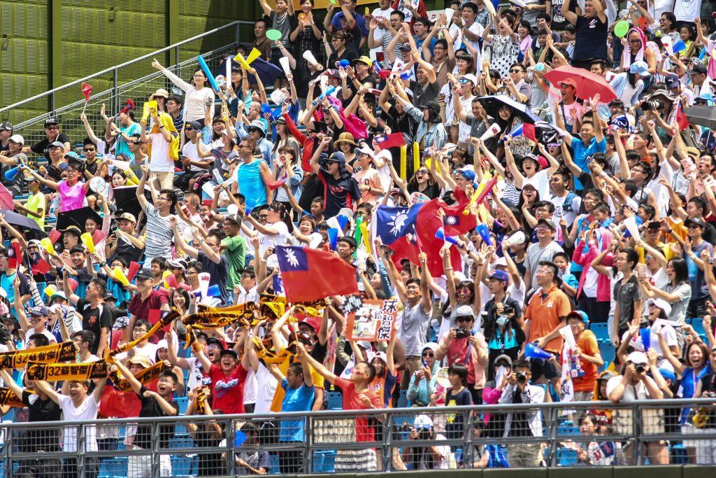 Au baseball, sport national à Taïwan, ce sont les drapeaux de la République de Chine et les encouragements à l'équipe chinoise qui dominent. (Crédit : Comité d'organisation de l'Universiade d'été 2017 de Taipei)