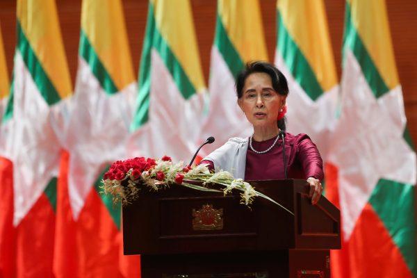 Aung San Suu Kyi lors de son discours à la nation du 19 septembre 2017. (Crédit : AFP PHOTO / Ye Aung THU)