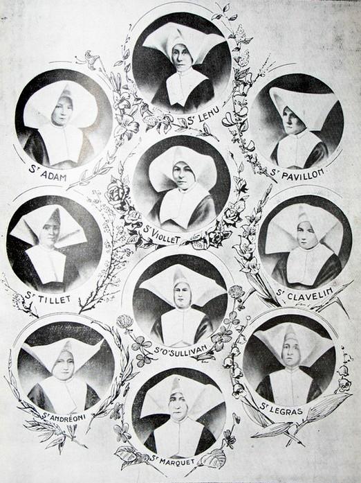 """Portraits des dix Filles de la Charité tué durant les émeutes du 21 juin 1870 qui ont conduit au """"Massacre de Tianjin"""" : La Sœur Supérieure Marquet (Belge), la Sœur Andreoni (Italienne), la Sœur Viollet (Française), la Sœur Adam (Belge), la Sœur Pavillon (Française), la Sœur Legras (Française), la Sœur Clavelin (Française), la Sœur Tillet (Française), la Sœur Lenu (Française), la Sœur O'Sullivan (Irlandaise). (Crédits : DR)"""