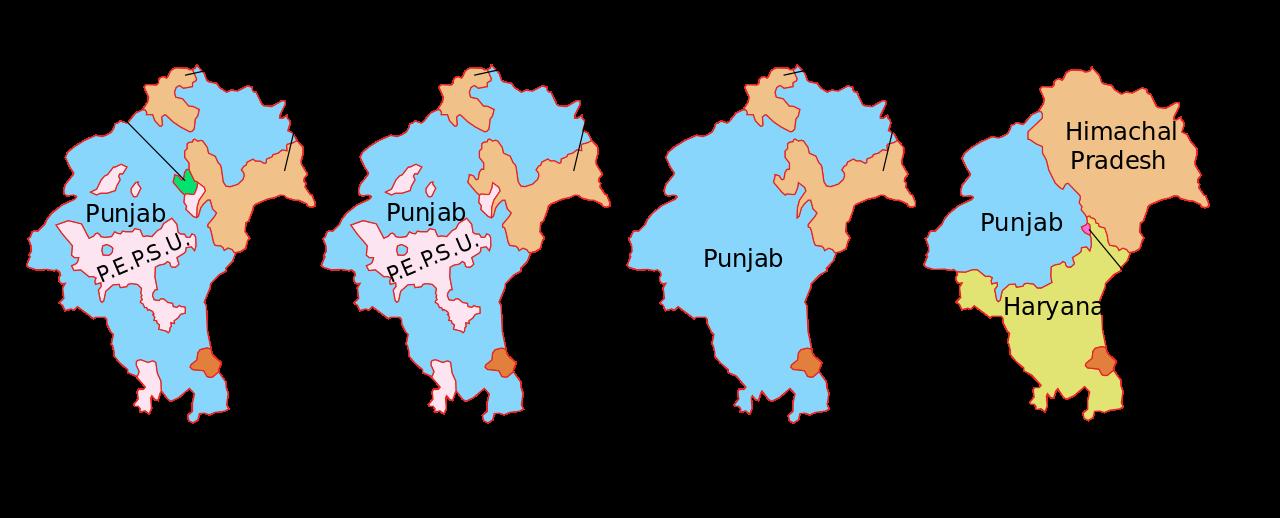Le Pendjab de 1951 à 1966. (Crédits : Wikiwand)