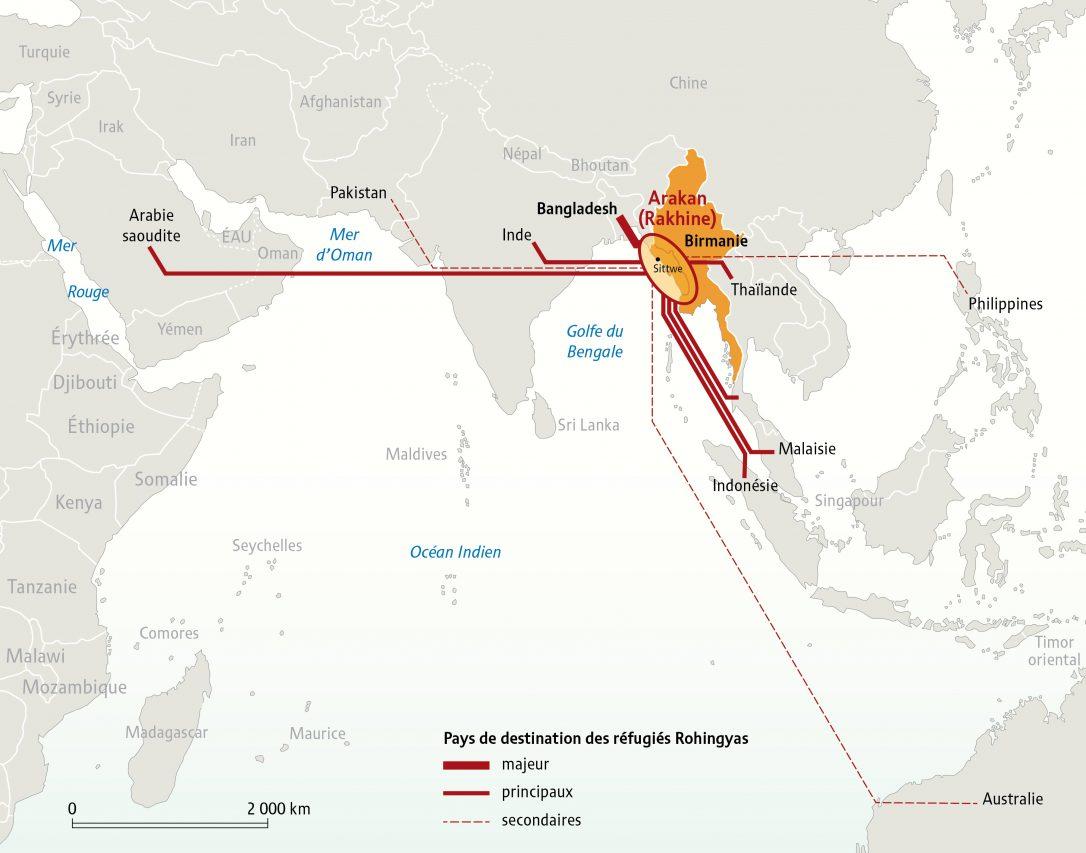 Principaux pays d'accueil des réfugiés rohingyas. (Copyright : Visionscarto, octobre 2017)