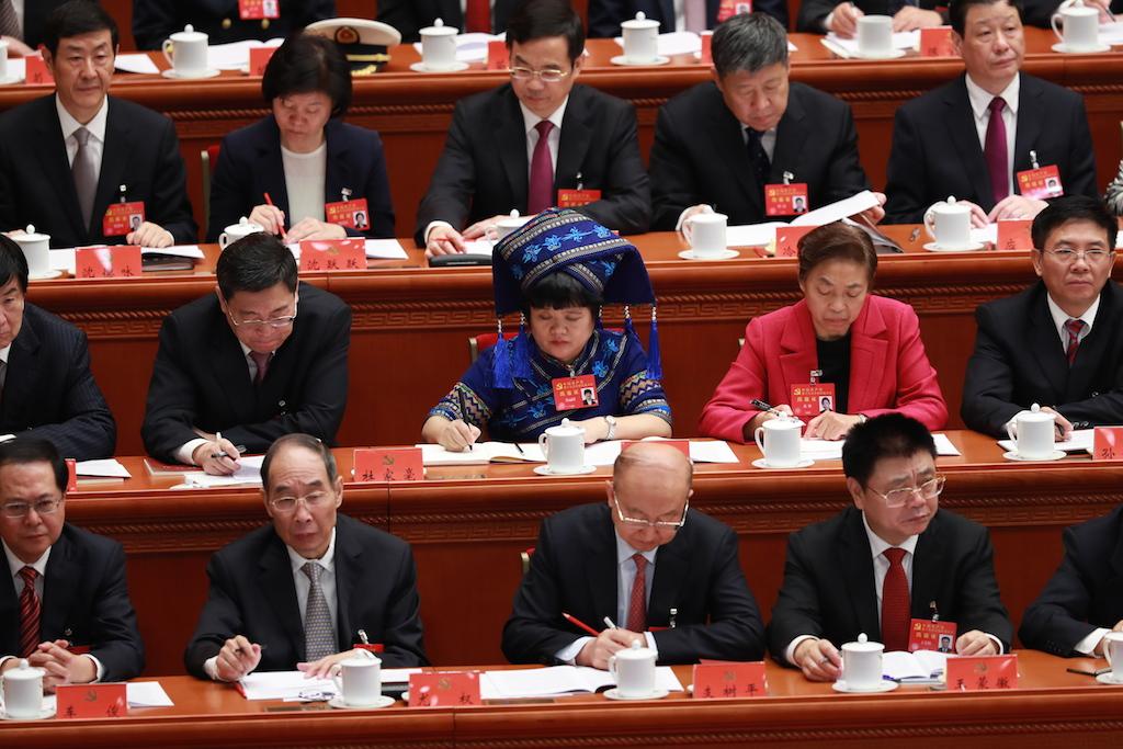 Parmi les 2287 délégués du 19ème Congrès du Parti communiste chinois à Pékin, ouvert le 18 octobre 2017 dans le Grand Hall du Peuple, 11,5% sont issus des minorités ethniques. (Crédits : GE JINFH / IMAGINECHINA / via AFP)