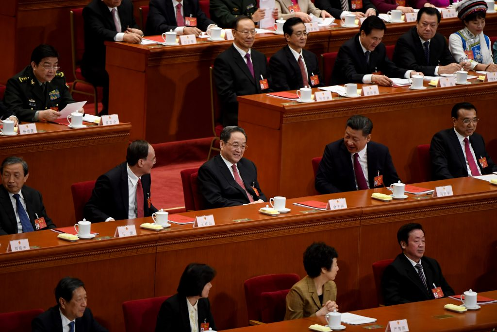 Le secrétaire général du Parti communiste chinois Xi Jinping prépare sa domination durable sur le bureau politique du PCC pour le 19ème Congrès le 18 octobre 2017 à Pékin. (Crédits : AFP PHOTO / GREG BAKER)