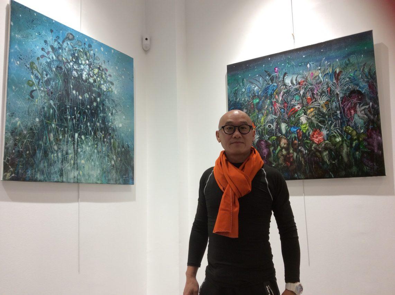L'artiste chinois KunBun Lei lors de son passage à Paris le 5 octobre 2017. (Crédits : Stéphane Lagarde, Asialyst)