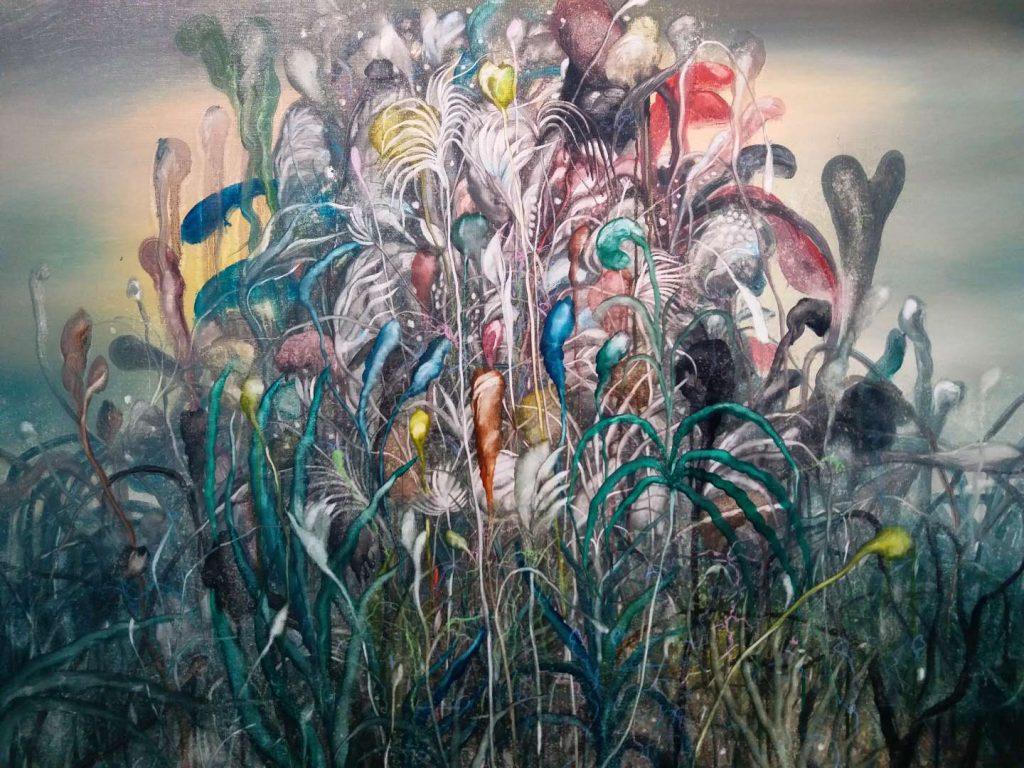 """Hua Huo"", ""Fleurs et feu"", peinture à l'huile, 2017. (Copyright : KunBu Lei)"