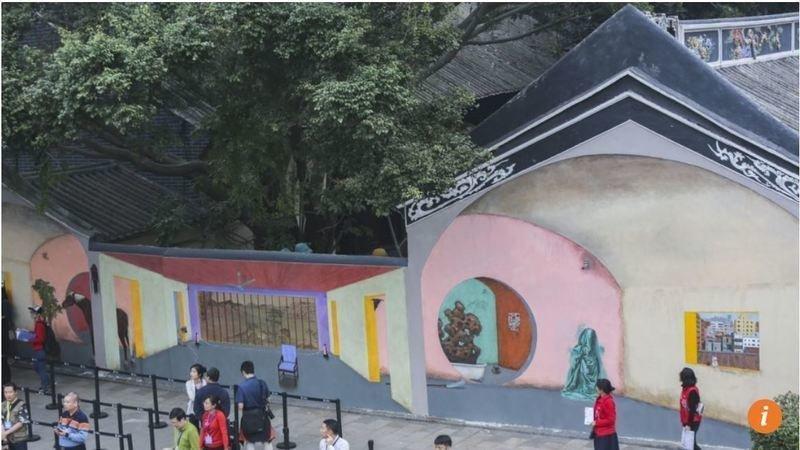 La fresque de Hu Jiamin à la biennale d'architecture de Shenzhen. (Source : Change.org)