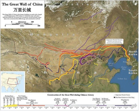 Carte des différents tronçons de la Grande Muraille de Chine. (Source : China Mike)