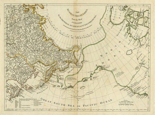 Carte du cercle arctique et de l'actuel détroit de Bering, publiée en 1754 par le département de géographie de l'Académie des Sciences de Saint-Pétersbourg. (Source : Wikiwand)