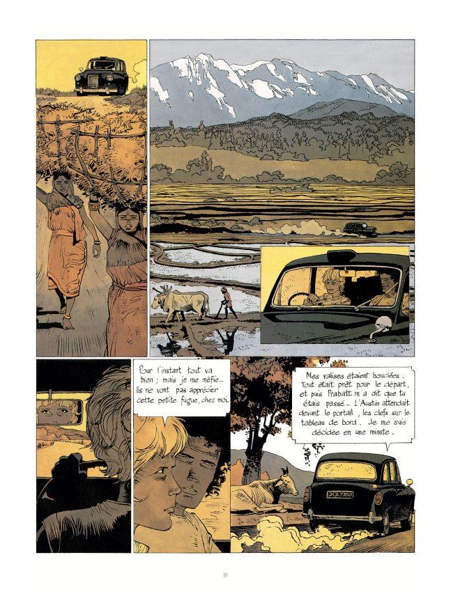 """Jonathan amoureux d'une Américaine au Cachemire, dans """"Kate"""", par Cosey, éditions Le Lombard. (Crédit : Le Lombard)"""