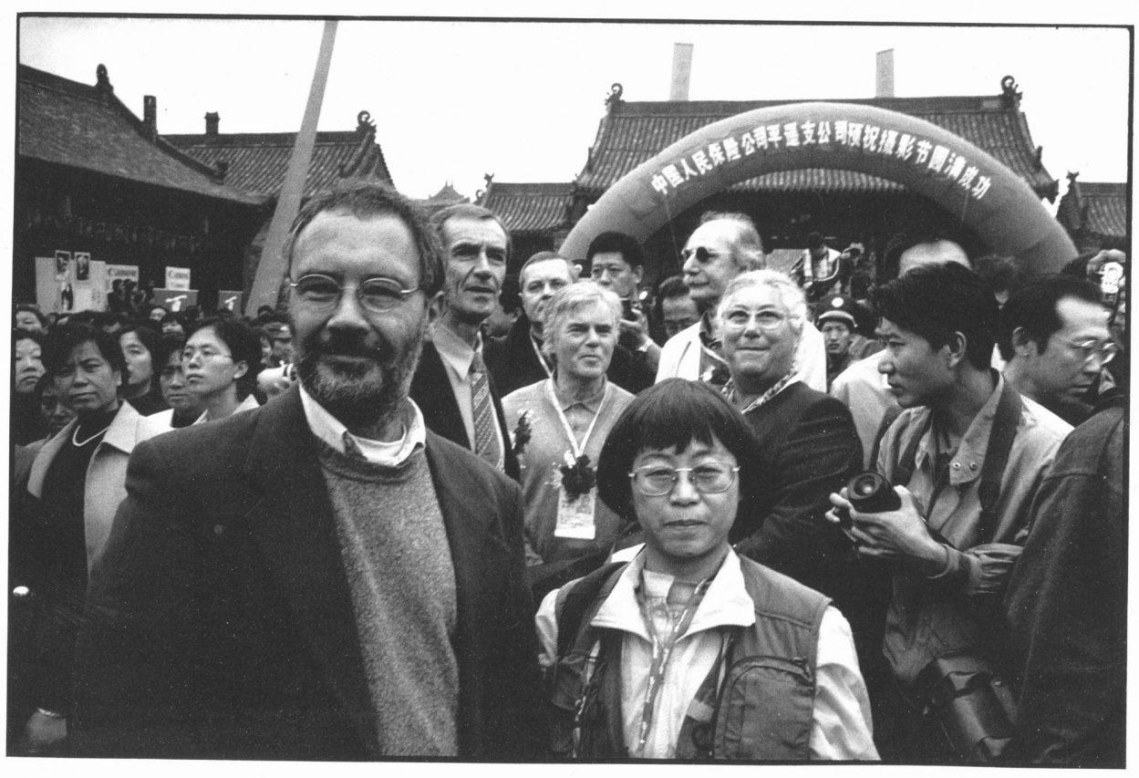 De gauche à droite, Alain Jullien, un membre de l'Ambassade de France à Pékin, Oleg Gouriev, vice-directeur de la maison de la photo de Moscou, Alain Sayag, conservateur au Centre Pompidou et Agnès de Gouvion St-Cyr du ministère de la Culture. (Copyright : Marc Riboud)