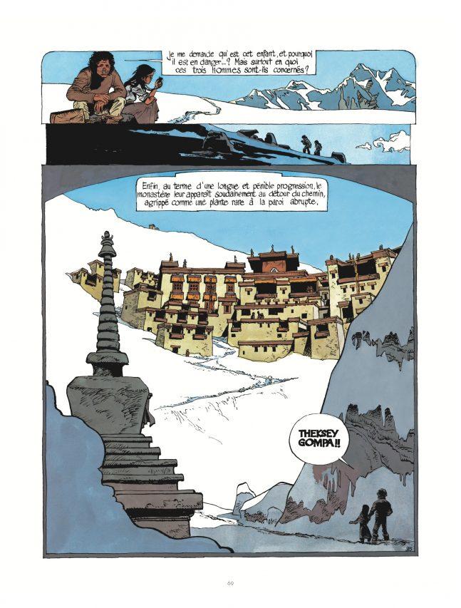 """Jonathan est au Ladakh dans """"Le berceau du Bodhisattva"""", par Cosey, éditions Le Lombard. (Crédit : Le Lombard)"""