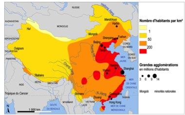 Carte de la densité de population en Chine. (Crédit : DR)