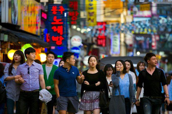 Foule à Séoul.