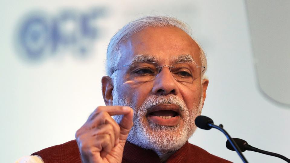 Le Premier ministre Narendra Modi au 3ème Dialogue Raisina a Delhi le 17 janvier 2018.