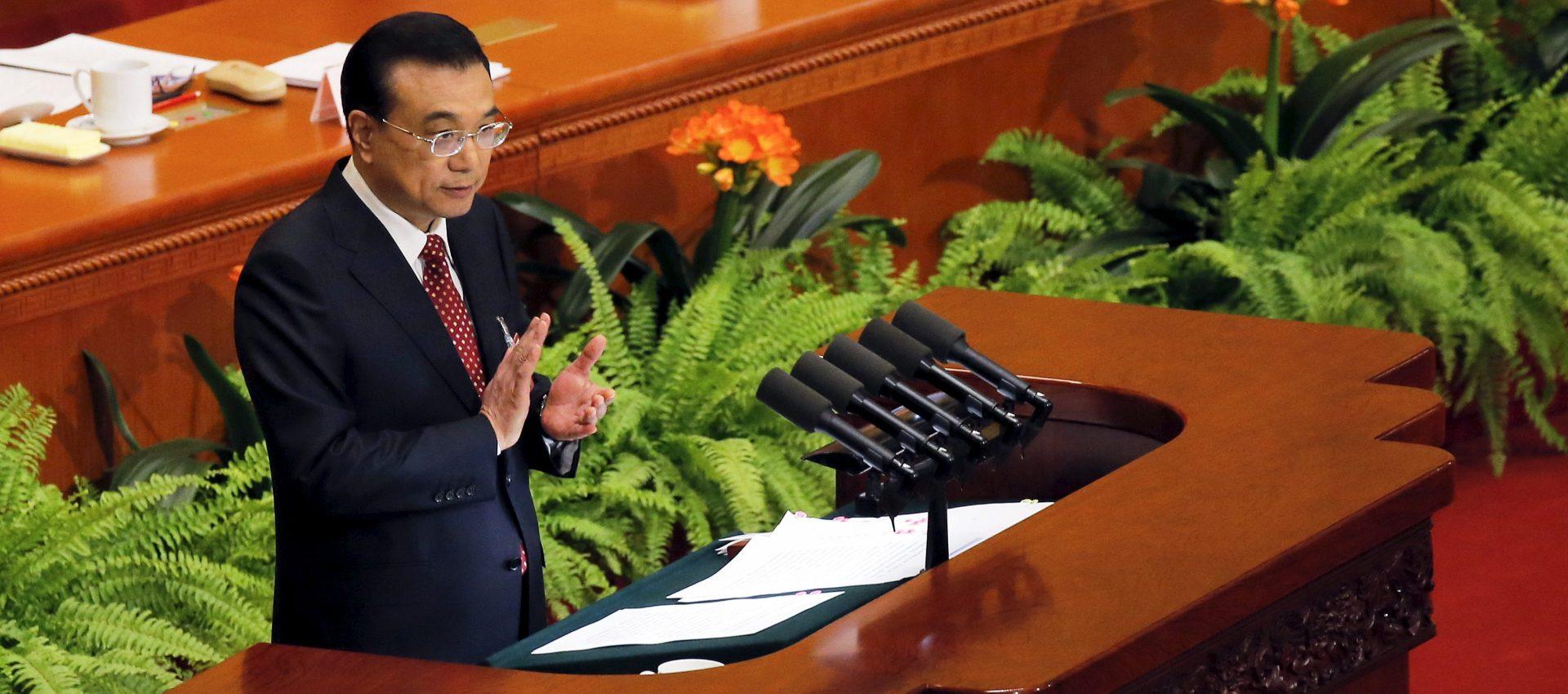 Le Premier ministre chinois Li Keqiang lors de son discours d'ouverture de la session annuelle de l'Assemblée nationale populaire à Pékin, le 5 mars 2016. (Source : Brookings)